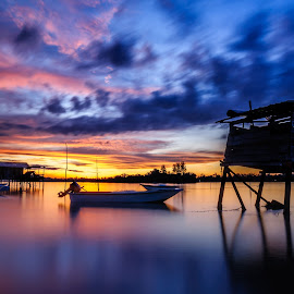 Home Boat Home by Eric Tai - Transportation Boats ( sunset, landscape, boat, longexposure, river,  )
