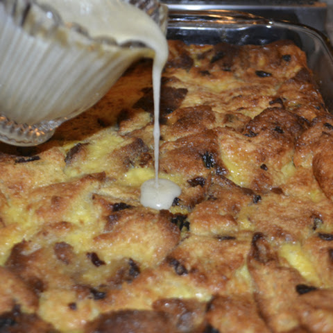 Eggnog Panettone Bread Pudding with Mascarpone Rum Sauce