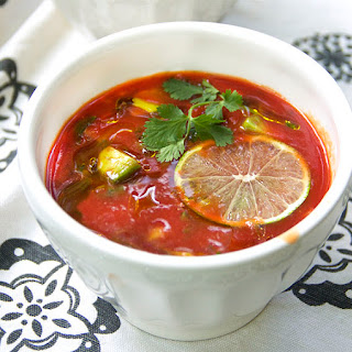 CHILLED TOMATO SOUP with AVOCADO & LIME