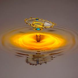 Golden Chalice and Blue Sapphire by Ganjar Rahayu - Abstract Water Drops & Splashes ( waterdrop )