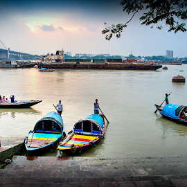 The colored boats by Sourav Dcousta - City,  Street & Park  City Parks ( blue, bridge, boat, people, dusk, river )