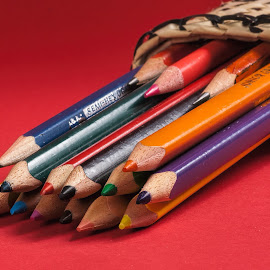 many coloured pens by Vibeke Friis - Artistic Objects Education Objects ( coloured, pencil case, pens,  )