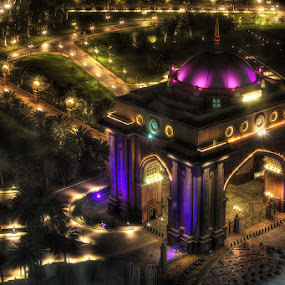 Colorful Night by Viktoryia Vinnikava - Buildings & Architecture Office Buildings & Hotels ( building, emirates palace, winner, triumph arch, architecture, entrance, lights, uae, abu dhabi, spaces of light, night, hotel, top, , the mood factory, mood, lighting, sassy, pink, colored, colorful, scenic, artificial, scents, senses, hot pink, confident, fun, mood factory , creativity, art, artistic, purple, mood factory, color )
