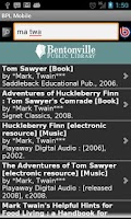 Screenshot of Bentonville Library Mobile