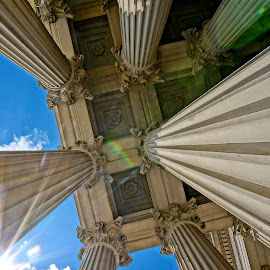Archives Museum in Washington DC by Barbara Brock - Buildings & Architecture Architectural Detail ( columns, monument, architecture, sun flare, pillars )