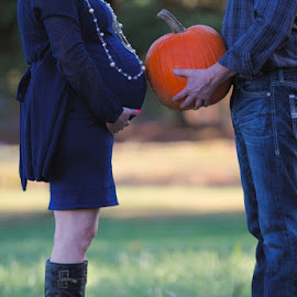 Fall baby bumps and pumpkins. by Alicia Vazquez - People Maternity ( maternity, family portrait photographer, ravishing photography, pregnancy, fall, pumpkins, pregnant, alicia vazquez, creative maternity, baby belly )