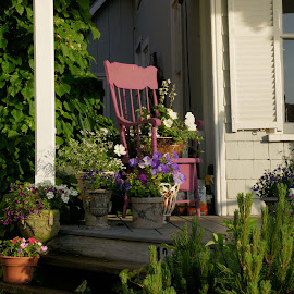 Home Garden by Susan Fries - Artistic Objects Still Life ( chair, house, flowers, porch, garden )