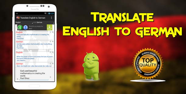 Translate English to German - screenshot