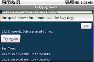 Screenshot of AS Typing Practice