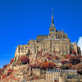 Mont Saint-Michel - Autumn Warmth by Nicolas Raymond - Buildings & Architecture Public & Historical ( michel, old, europe, architecture, ancient, sky, autumn, foliage, france, classic, normandy, clouds, building, hdr, enclave, scenic, saint, history, saint-michel, classical, mont, commune, fall, trees, warmth, scene, castle, scenery, medieval,  )