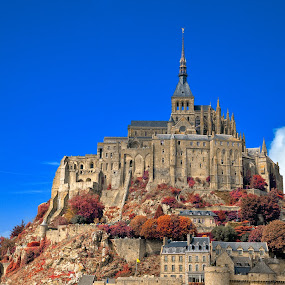 Mont Saint-Michel - Autumn Warmth by Nicolas Raymond - Buildings & Architecture Public & Historical ( michel, old, europe, architecture, ancient, sky, autumn, foliage, france, classic, normandy, clouds, building, hdr, enclave, scenic, saint, history, saint-michel, classical, mont, commune, fall, trees, warmth, scene, castle, scenery, medieval, , colorful, mood factory, vibrant, happiness, January, moods, emotions, inspiration )
