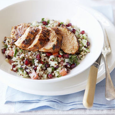 Spiced Turkey With Bulghar & Pomegranate Salad