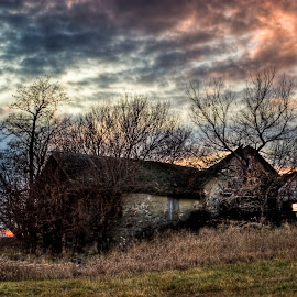 The Old Stone House by Ian Van Schepen - Buildings & Architecture Decaying & Abandoned ( clouds, field, nature, hdr, color, fall, fine art photography, landscape, rustic, rural, abandoned, blue, orange. color )