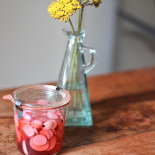 Sweet and Spicy Strawberry Pickled Radishes