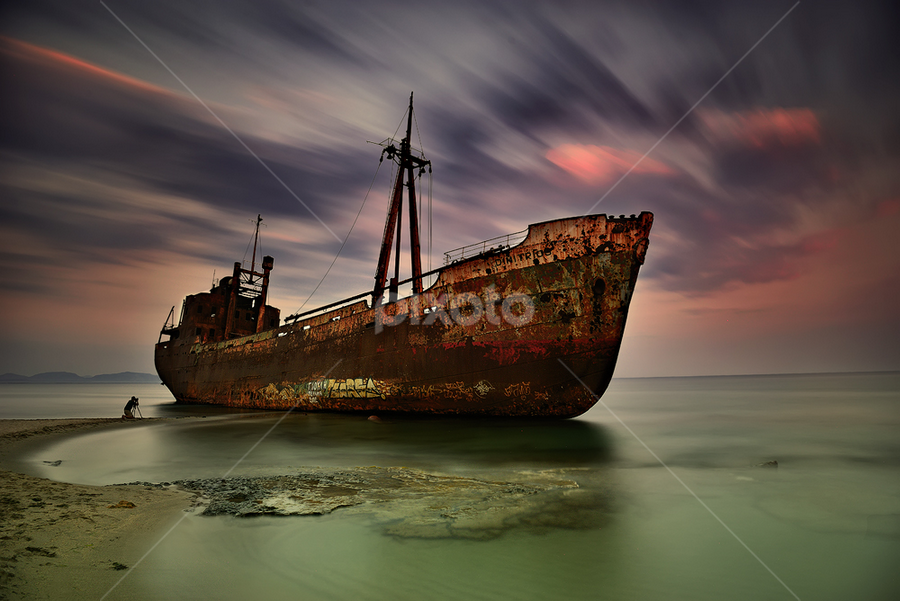 ---------- by Dimitrios Lamprou - Transportation Boats ( gytheio, sunset, long exposure, boat, abandoned )