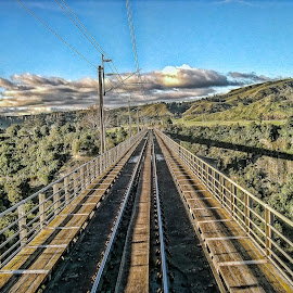 Looking down the line....... by Ram Ramkumar - Novices Only Landscapes ( railway line, perspective, railway bridge, landscape, new zealand,  )
