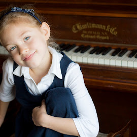 by the piano... by Joanna Clark - Babies & Children Child Portraits ( music, piano, girl, blue eyes, child portrait )