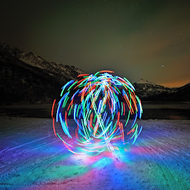 Spinning leds by Marius Birkeland - Abstract Light Painting ( reflection, light painting, spinning, led, colors )