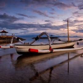 Fisherman's  Boat by Ferdinand Ludo - Transportation Boats ( sunset, indonesia, beach, along bali,  )
