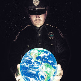 Officer and the World by Jesse Rodriguez Jr - Digital Art People ( police, officer, earth, universe, world, Selfie, self shot, portrait, self portrait,  )