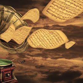 The last notes of gramophone by George Leontaras - Digital Art Things ( gramophone, music, hellas, musical instrument, volos, greece, digital art, glart, photoshop photography, fine art, manipulation )