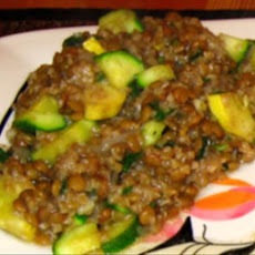Lentil and Bulgur Pilaf With Green and Yellow Squash