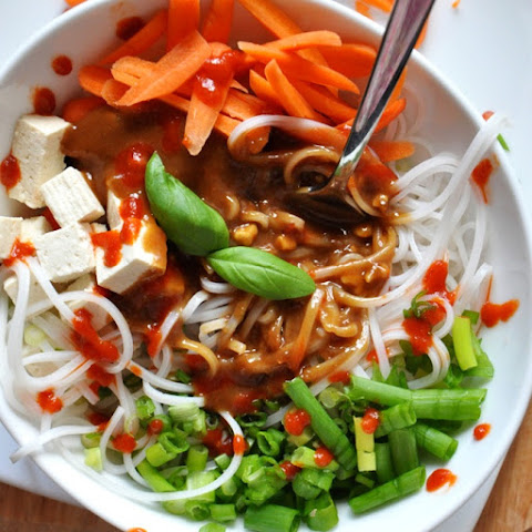 Asian Noodle Bowl with Ginger Peanut Dressing