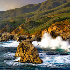 Between Monterey and Big Sur by Patrick Flood - Landscapes Beaches ( canon, photosbyflood, monterey, big sur, waves, california, shoreline, coast highway, long exposure, scenic drive, highway 1 )