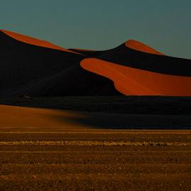 Dune III by Gene Myers - Landscapes Deserts ( shotsbygene, contrast, sand, sky, red, color, sand dune, landscape, shadows, gene myers, namibia,  )