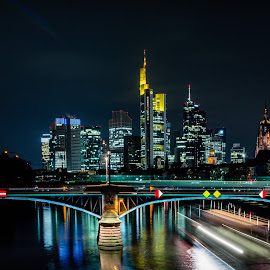 Frankfurt by Timothy Handy - City,  Street & Park  Skylines ( night photography, skyscrapers, light trails, germany, frankfurt night, nightscape )