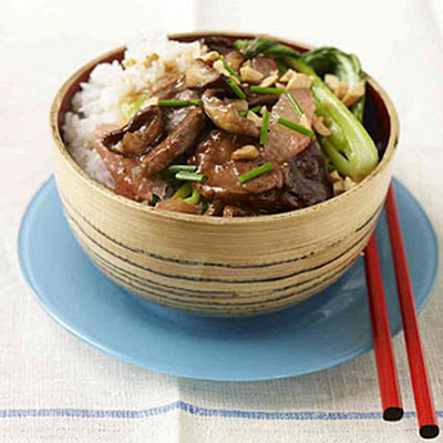Chinese BBQ Pork With Shiitake and Bok Choy