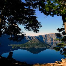Crater Lake, Oregon by Rebecca Belcher - Landscapes Travel ( crater, oregon, national park, framing, photographer, wizard island, lake, landscape, professional, photography )
