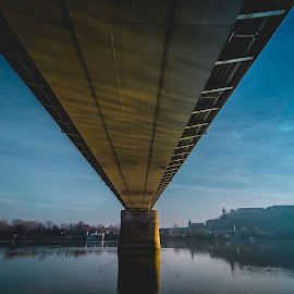Under the rainbow by Svetozar Mucalo - Buildings & Architecture Bridges & Suspended Structures ( sky, fortress, shadow, under, river )