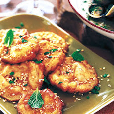 Fried Eggplant with Honey, Mint, and Sesame Seeds