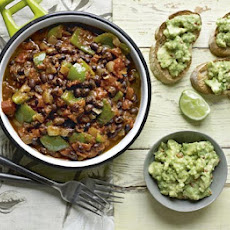 Black Bean Chilli With Guacamole & Garlic Ciabatta