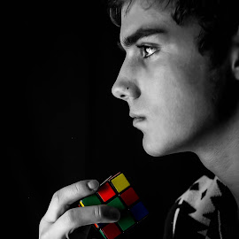 Rubic Thoughts by Alia Haig - People Portraits of Men ( rubics cube, selective color, black and white, men, portrait, photography )