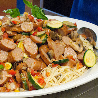 Chicken Sausage Oven-Roasted Pasta Primavera