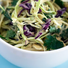 Asian Style Coleslaw Recipe with Peanut Butter Dressing