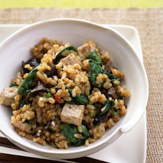 Brown Rice with Tofu, Dried Mushrooms, and Baby Spinach