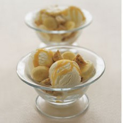 Butterscotch and Banana Sundaes