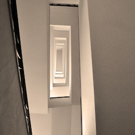 Upstairs by Marco Bertamé - Buildings & Architecture Other Interior ( monochrome, shadow, staircase, bottom, upstaire, light )