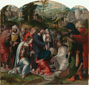 RIJKS: attributed to Aertgen Claesz. van Leyden: The Raising of Lazarus 1535