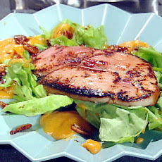 Chef Dave's Seared Ham Steak Salad with Bibb Lettuce, Warm Sweet Potato-Bourbon Dressing and Candied Pecans