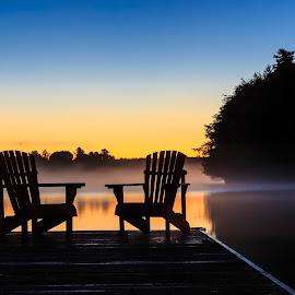 Misty Muskoka Morning by Rob Taylor - Landscapes Sunsets & Sunrises ( calm, muskoka, chairs, cottage, adirondack, lake, sunrise, dock, misty,  )