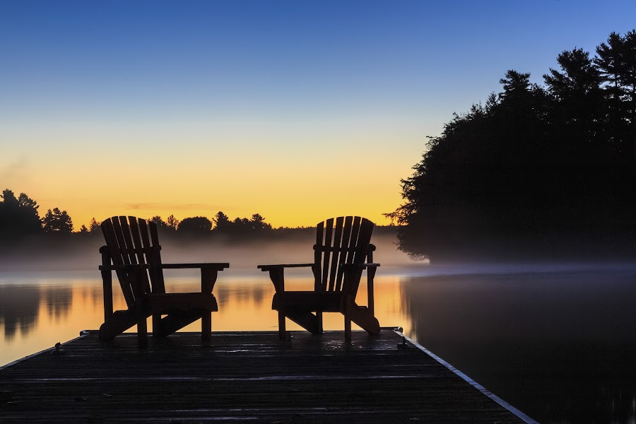Misty Muskoka Morning by Rob Taylor - Landscapes Sunsets & Sunrises ( calm, muskoka, chairs, cottage, adirondack, lake, sunrise, dock, misty,  )