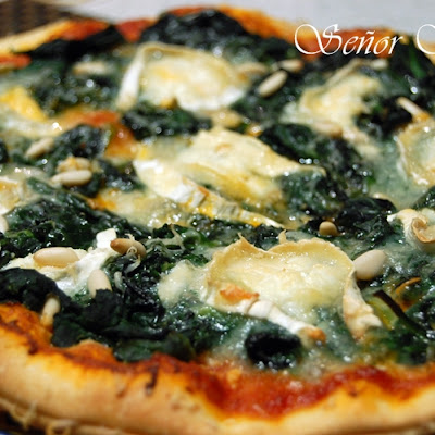 Spinach, Goat Cheese, and Pine Nut Pizza