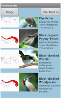 Screenshot of Panama Birds Field Guide