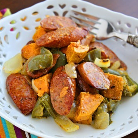 Roasted Sausage, Peppers and Sweet Potatoes