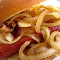Cheese-Stuffed Hot Dogs With Spicy Onions - Rachael Ray