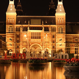 I AMsterdam by Michael Wadsworth - Buildings & Architecture Public & Historical ( reflection, rijksmuseum, amsterdam, night, tulips )